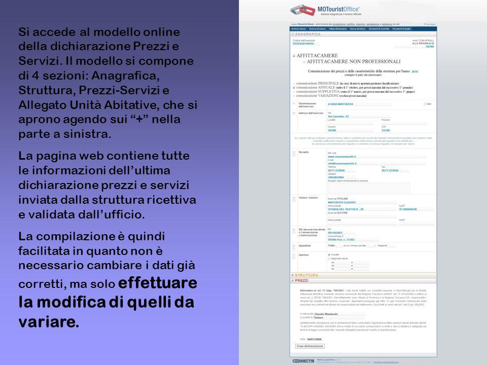 Si accede al modello online della dichiarazione Prezzi e Servizi