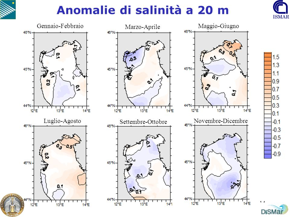 Anomalie di salinità a 20 m