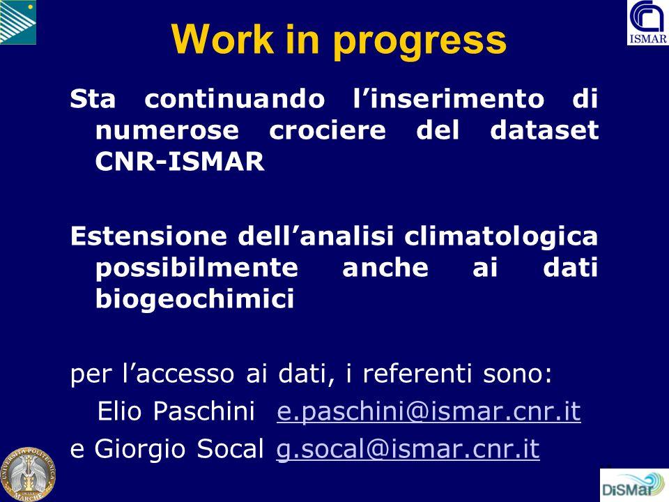 Work in progress Sta continuando l'inserimento di numerose crociere del dataset CNR-ISMAR.