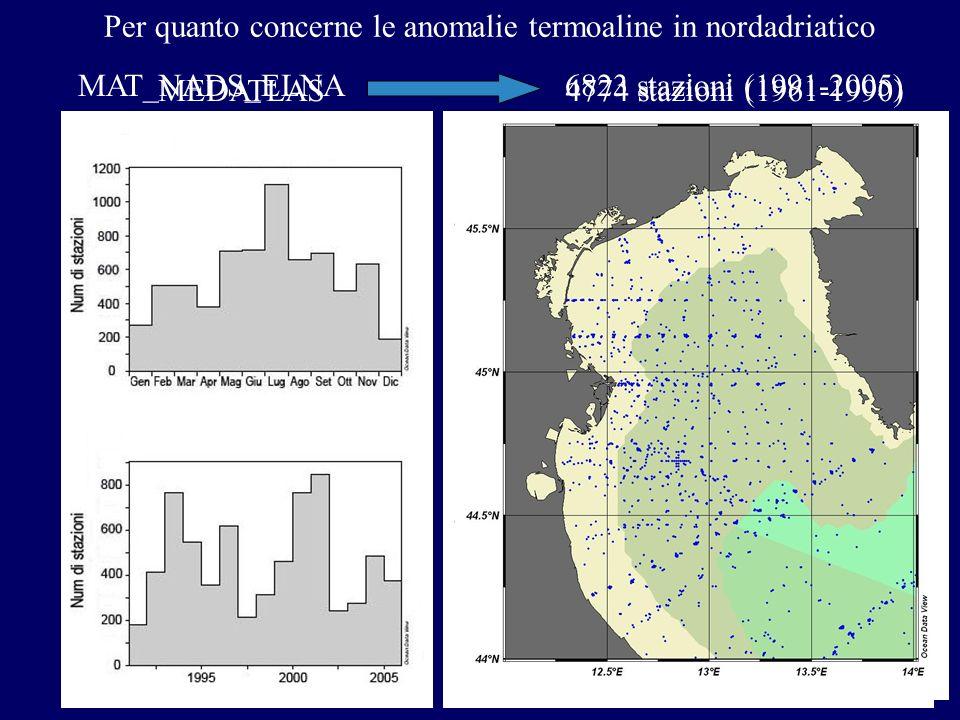 Per quanto concerne le anomalie termoaline in nordadriatico
