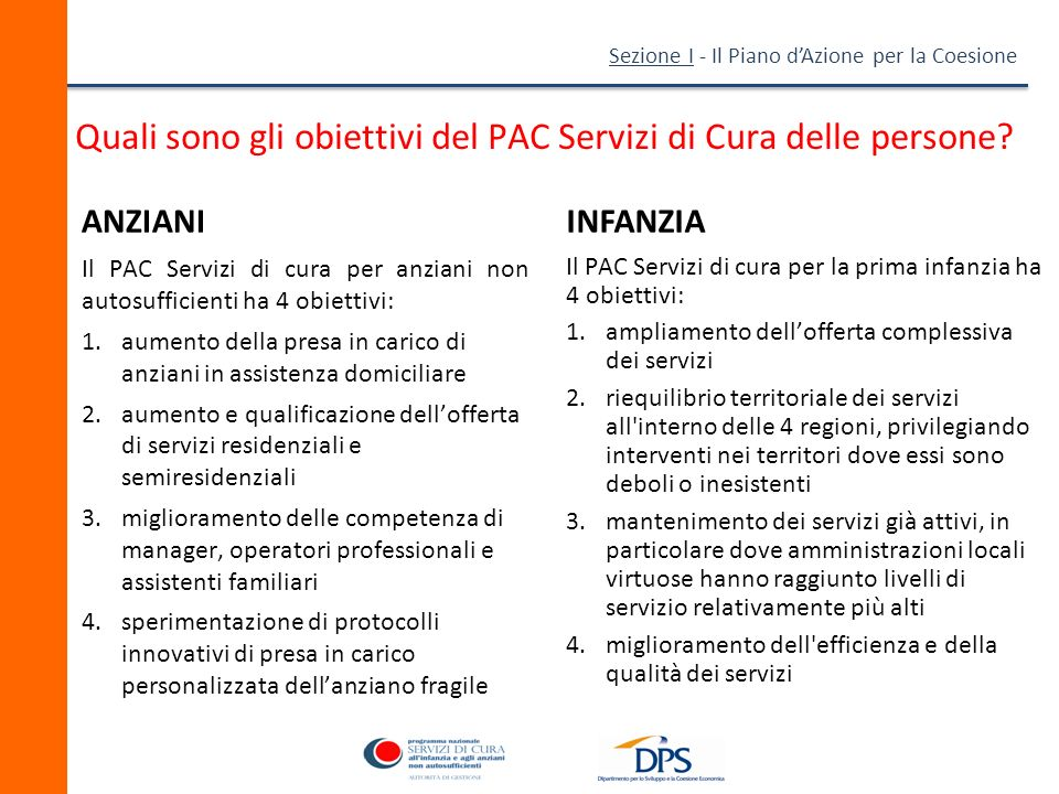 Quali sono gli obiettivi del PAC Servizi di Cura delle persone