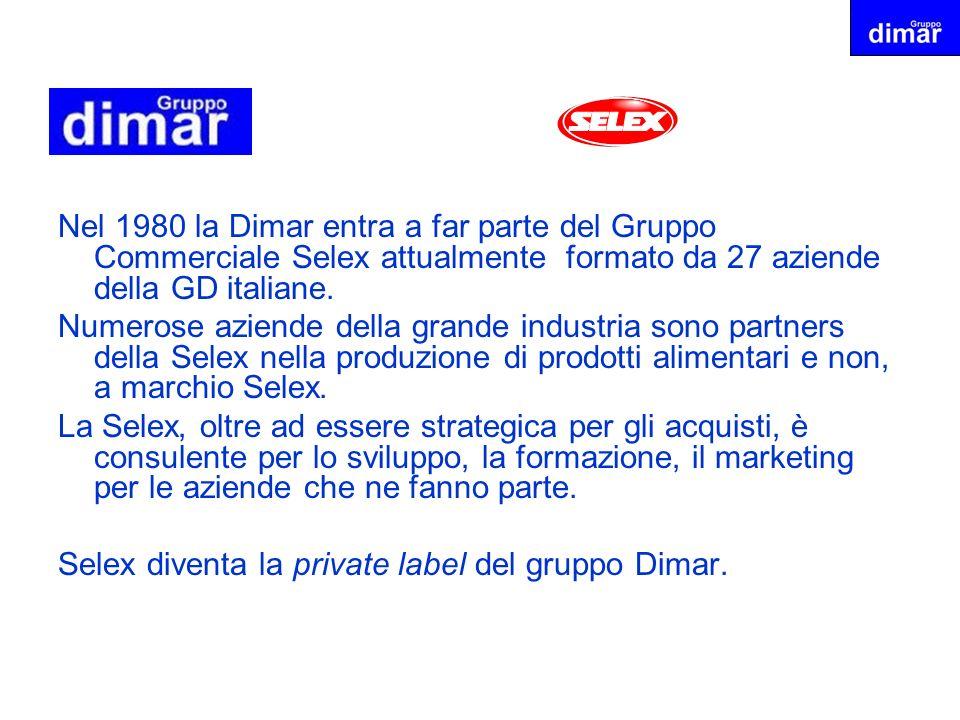 Nel 1980 la Dimar entra a far parte del Gruppo Commerciale Selex attualmente formato da 27 aziende della GD italiane.