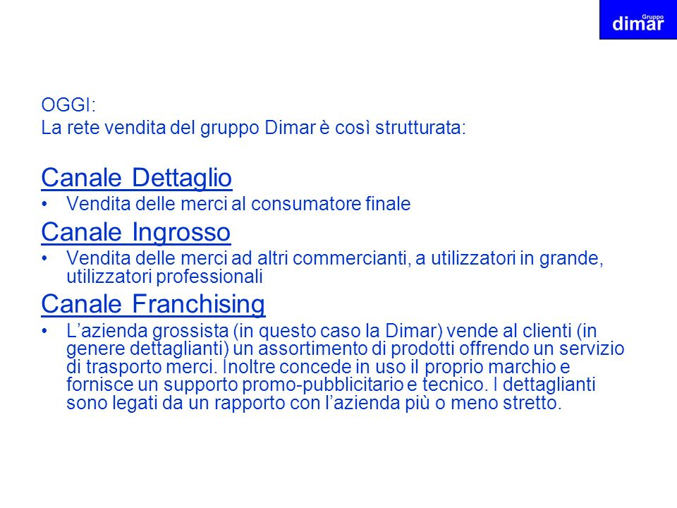 Canale Dettaglio Canale Ingrosso Canale Franchising OGGI: