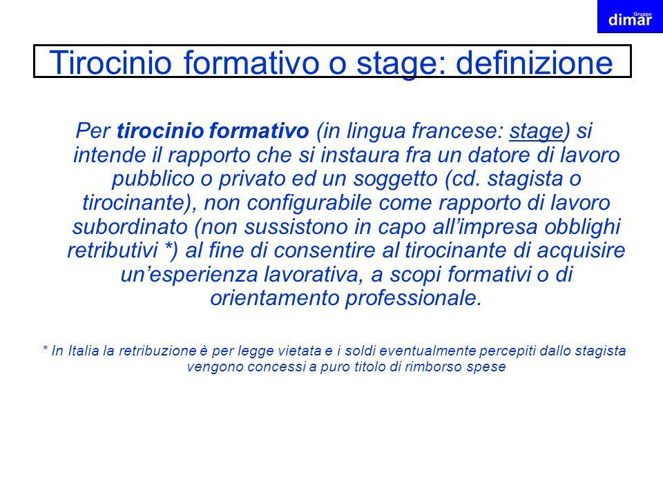 Tirocinio formativo o stage: definizione