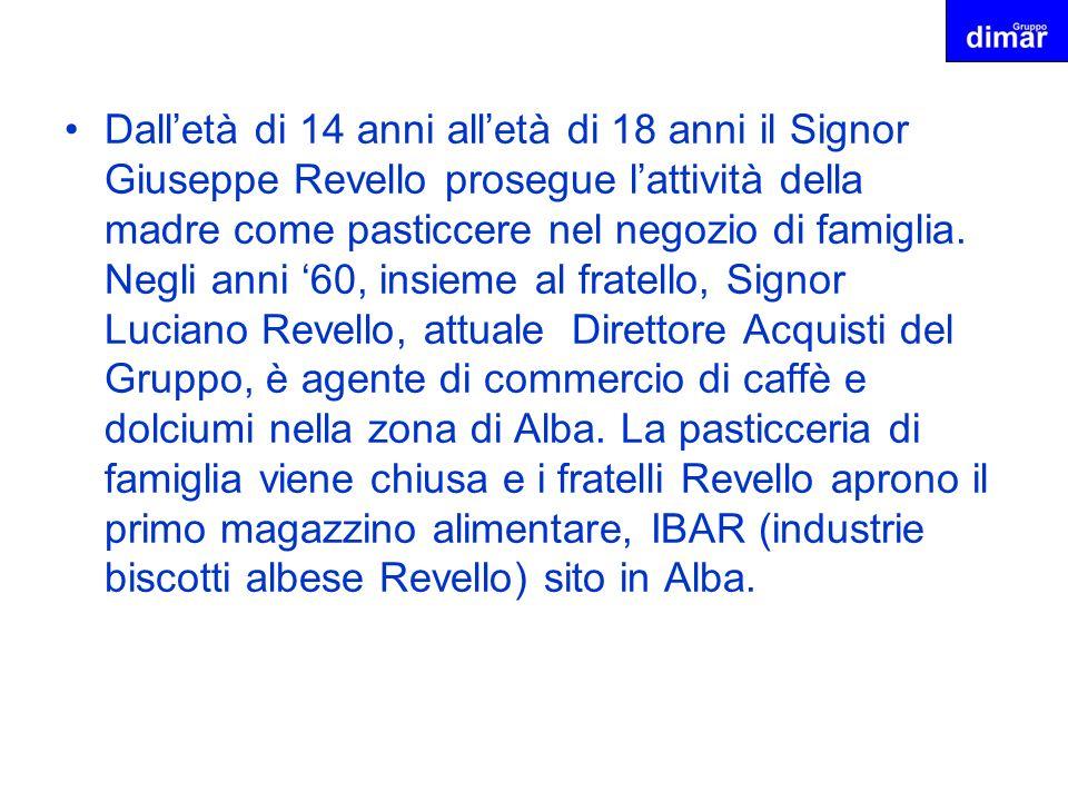 Dall'età di 14 anni all'età di 18 anni il Signor Giuseppe Revello prosegue l'attività della madre come pasticcere nel negozio di famiglia.
