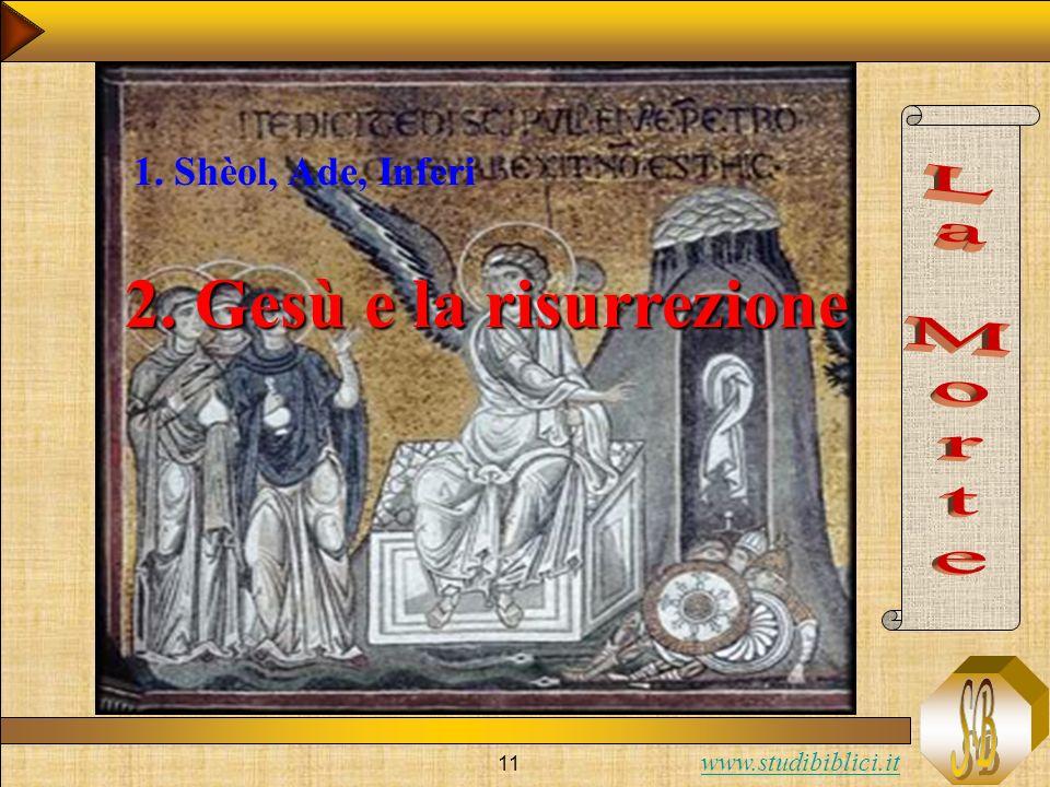 1. Shèol, Ade, Inferi 2. Gesù e la risurrezione La Morte