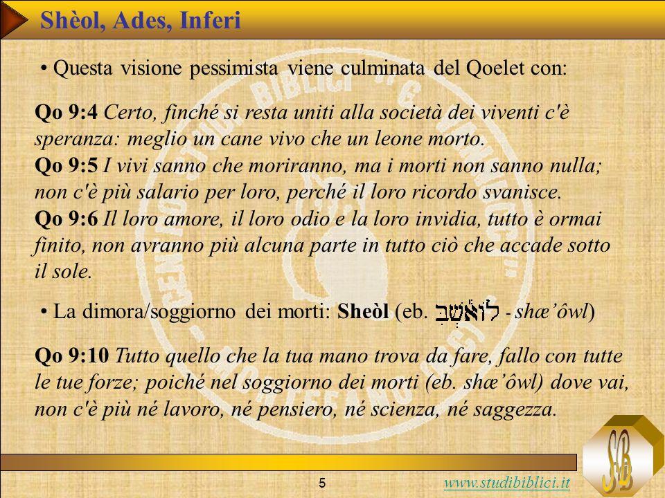 Shèol, Ades, Inferi Questa visione pessimista viene culminata del Qoelet con: