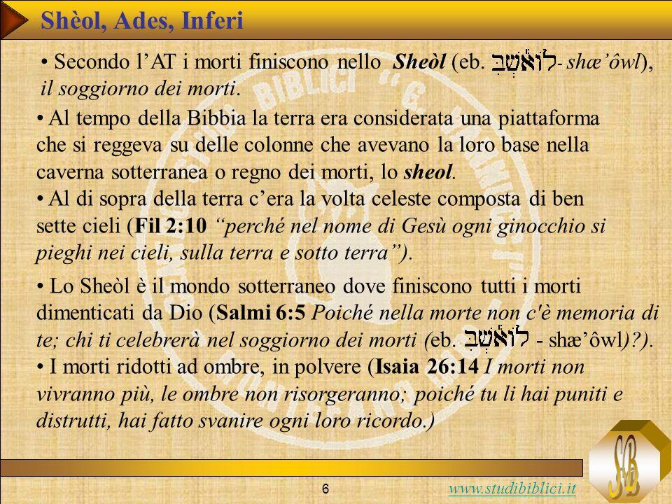 Shèol, Ades, Inferi Secondo l'AT i morti finiscono nello Sheòl (eb. - shæ'ôwl), il soggiorno dei morti.