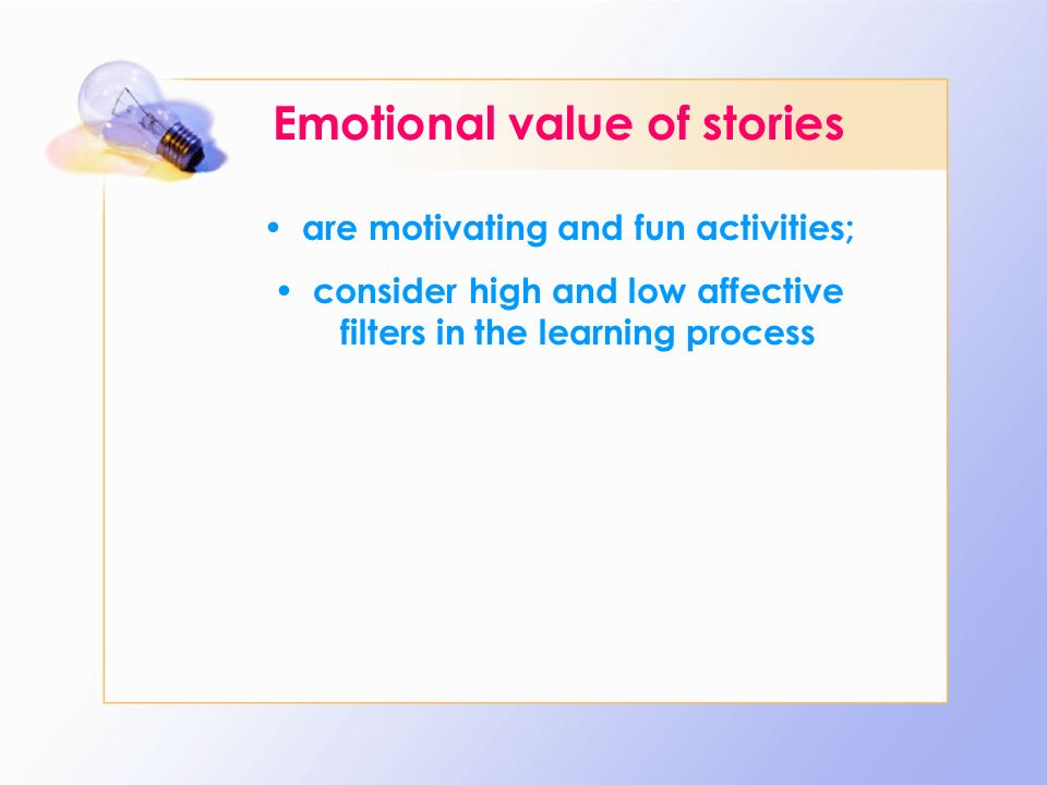 Emotional value of stories