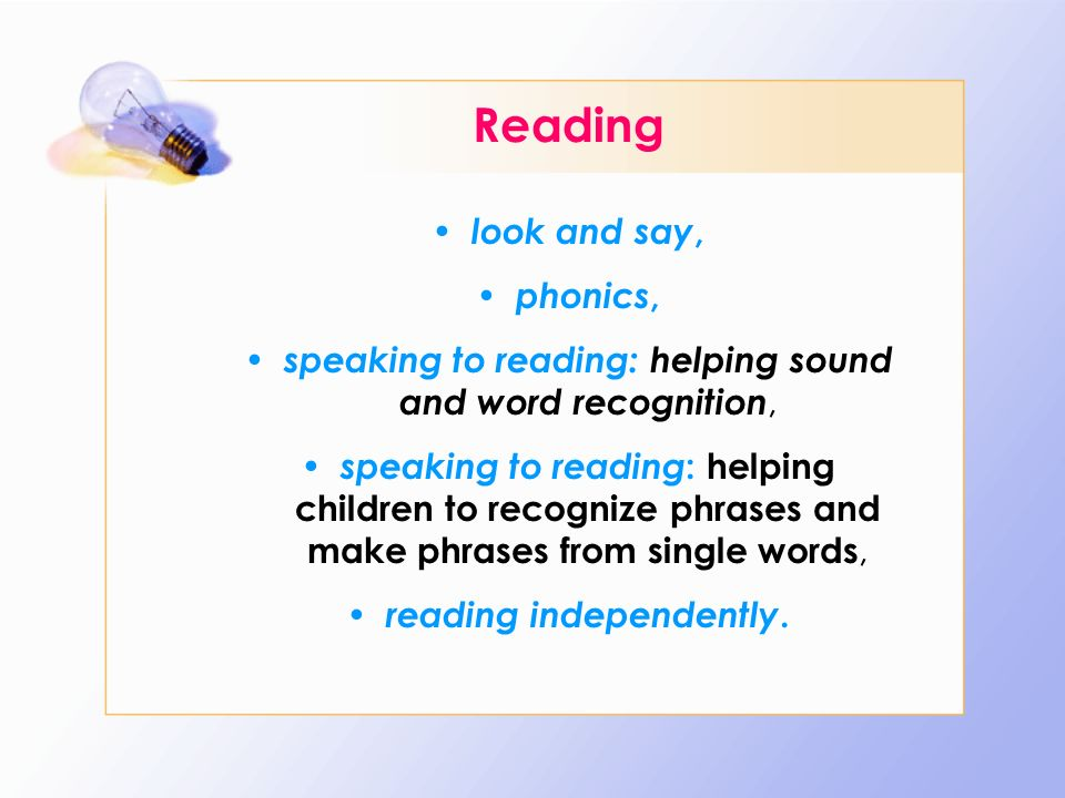 reading independently.