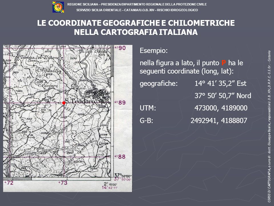 LE COORDINATE GEOGRAFICHE E CHILOMETRICHE NELLA CARTOGRAFIA ITALIANA
