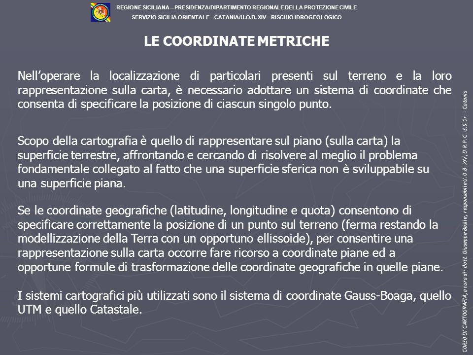 LE COORDINATE METRICHE