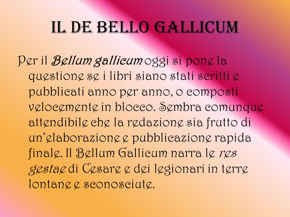 IL DE BELLO GALLICUM