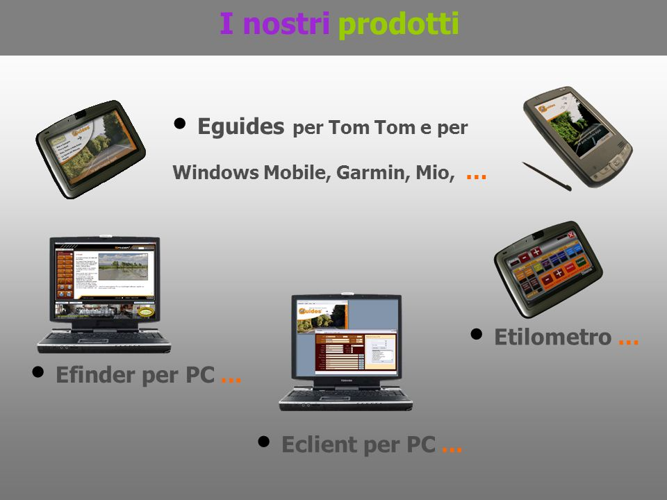Eguides per Tom Tom e per Windows Mobile, Garmin, Mio, …
