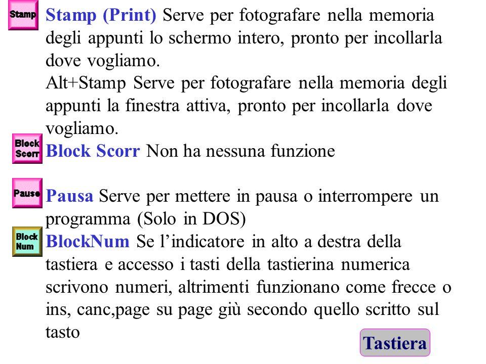 Stamp (Print) Serve per fotografare nella memoria degli appunti lo schermo intero, pronto per incollarla dove vogliamo.