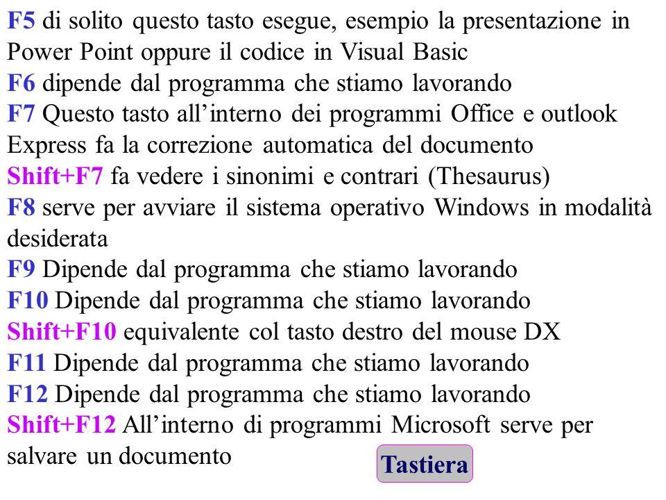 F5 di solito questo tasto esegue, esempio la presentazione in Power Point oppure il codice in Visual Basic