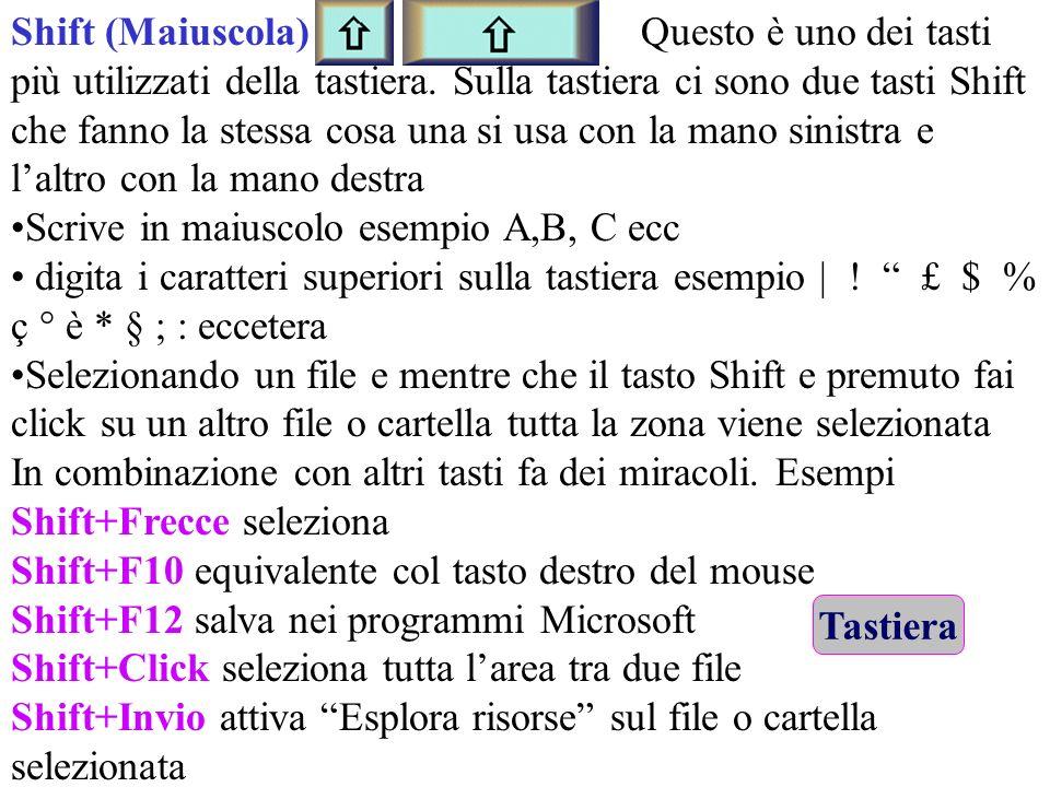 Shift (Maiuscola) Questo è uno dei tasti più utilizzati della tastiera. Sulla tastiera ci sono due tasti Shift che fanno la stessa cosa una si usa con la mano sinistra e l'altro con la mano destra