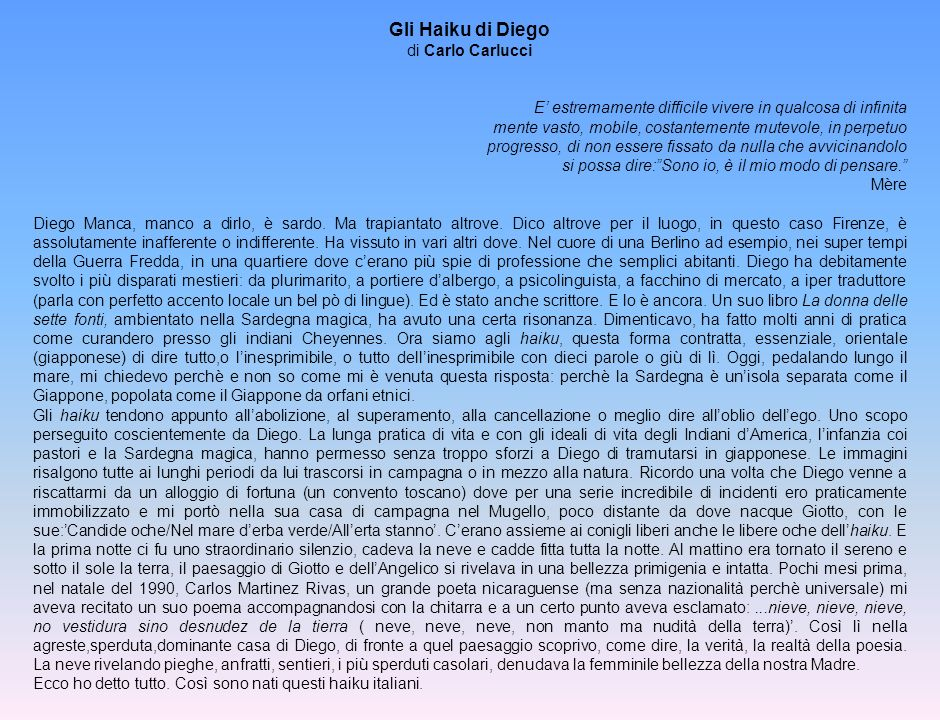 Gli Haiku di Diego di Carlo Carlucci