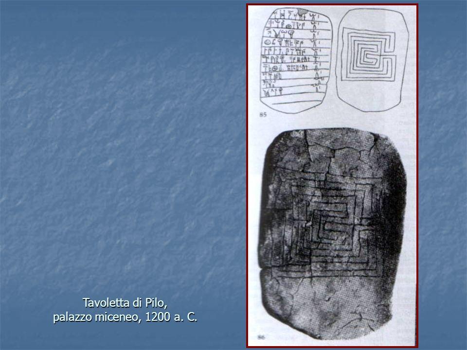 Tavoletta di Pilo, palazzo miceneo, 1200 a. C.