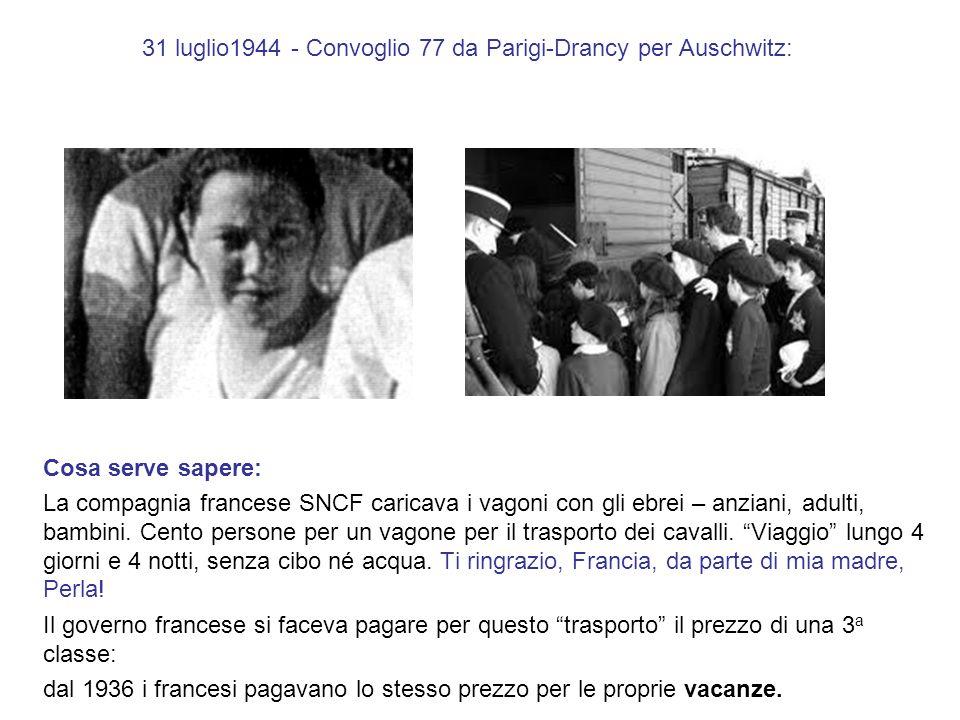 31 luglio1944 - Convoglio 77 da Parigi-Drancy per Auschwitz: