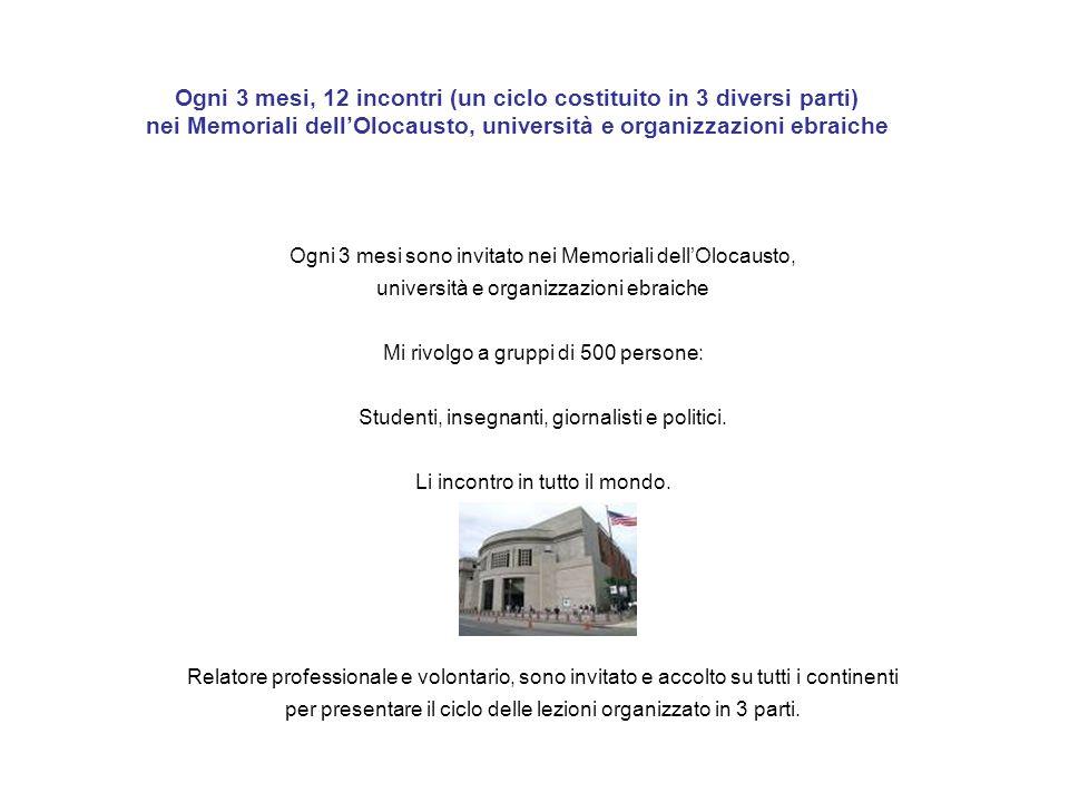 Ogni 3 mesi, 12 incontri (un ciclo costituito in 3 diversi parti) nei Memoriali dell'Olocausto, università e organizzazioni ebraiche