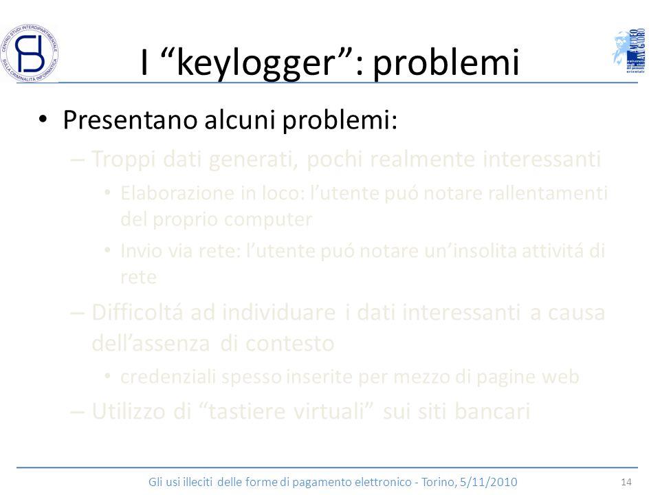I keylogger : problemi