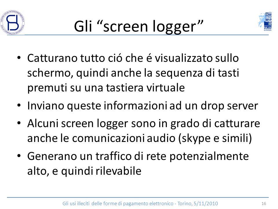 Gli screen logger Catturano tutto ció che é visualizzato sullo schermo, quindi anche la sequenza di tasti premuti su una tastiera virtuale.