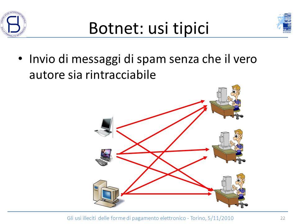 Botnet: usi tipici Invio di messaggi di spam senza che il vero autore sia rintracciabile.