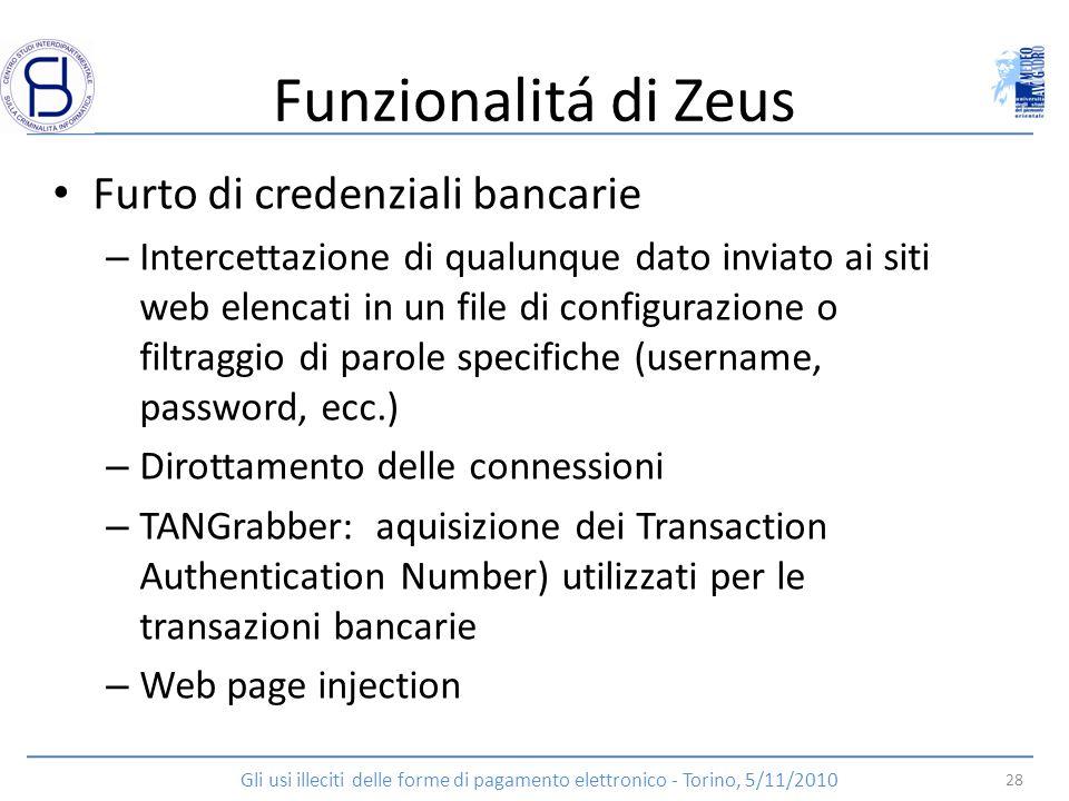 Funzionalitá di Zeus Furto di credenziali bancarie