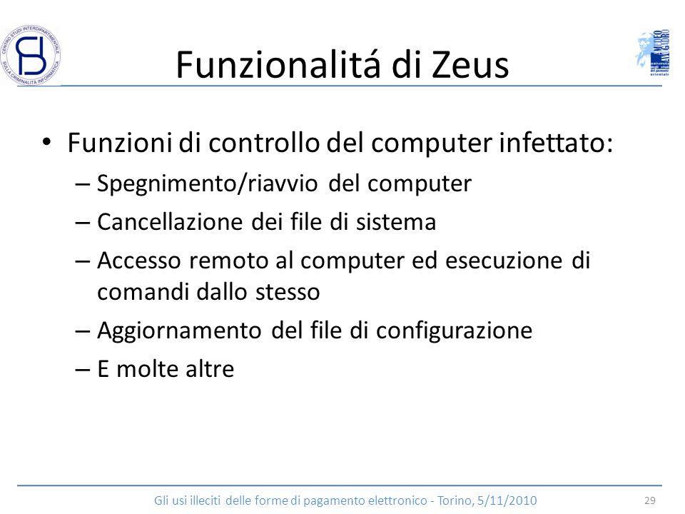 Funzionalitá di Zeus Funzioni di controllo del computer infettato: