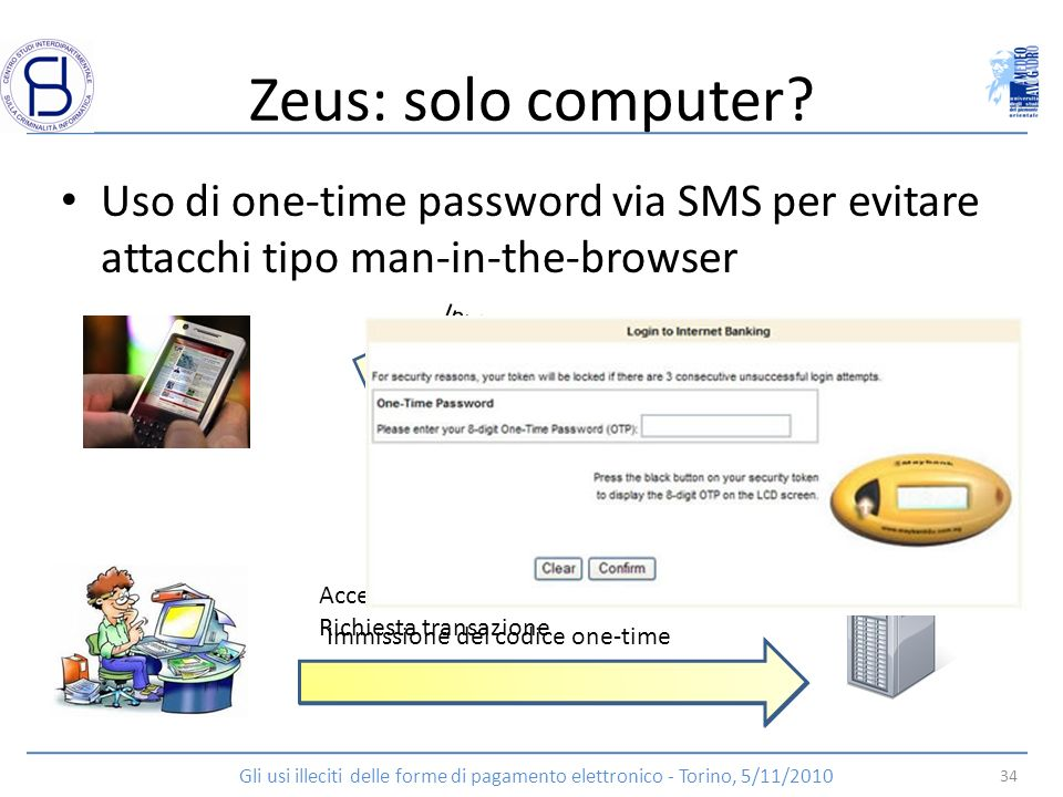 Zeus: solo computer Uso di one-time password via SMS per evitare attacchi tipo man-in-the-browser.