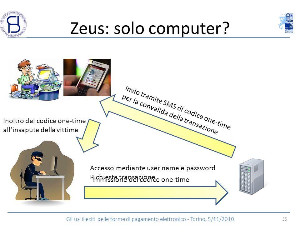 Zeus: solo computer Invio tramite SMS di codice one-time