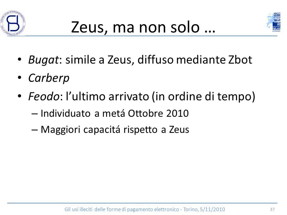 Zeus, ma non solo … Bugat: simile a Zeus, diffuso mediante Zbot
