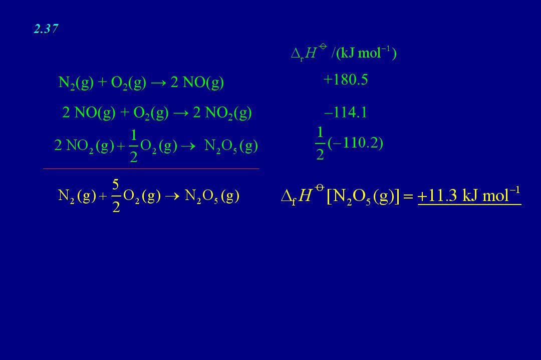 2.37 N2(g) + O2(g) → 2 NO(g) +180.5 2 NO(g) + O2(g) → 2 NO2(g) –114.1