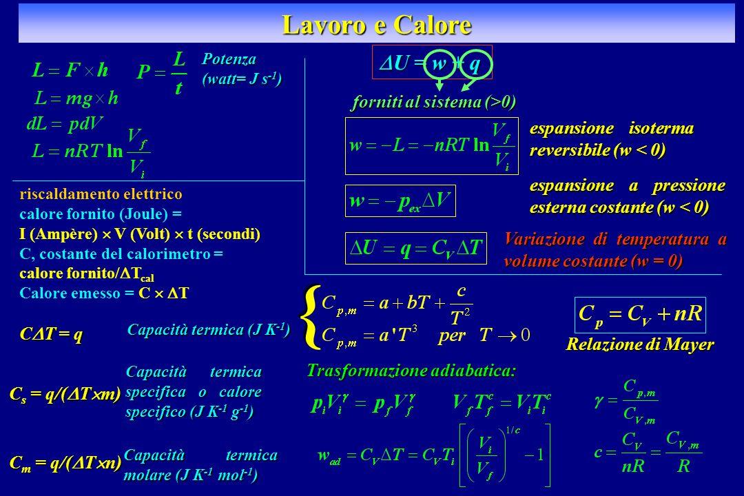 } Lavoro e Calore DU = w + q forniti al sistema (>0)
