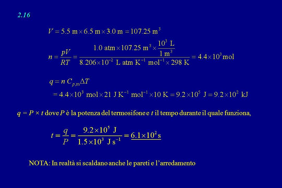 2.16 q = P × t dove P è la potenza del termosifone e t il tempo durante il quale funziona,