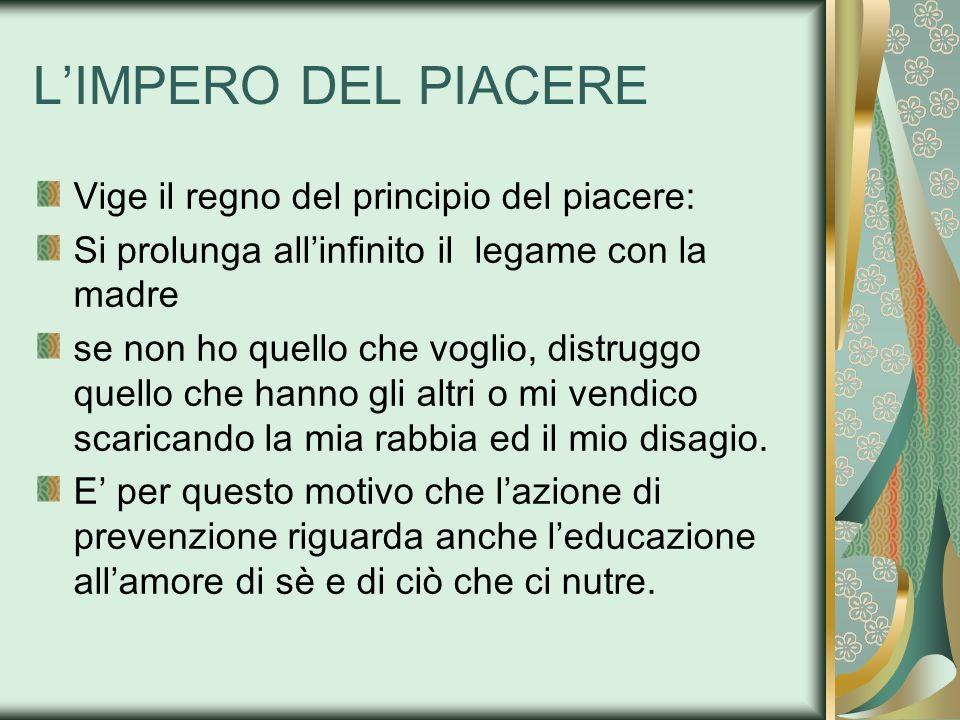 L'IMPERO DEL PIACERE Vige il regno del principio del piacere:
