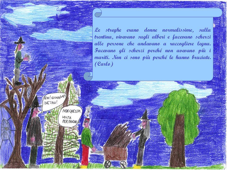 Le streghe erano donne normalissime, sulla trentina, vivevano sugli alberi e facevano scherzi alle persone che andavano a raccogliere legna. Facevano gli scherzi perché non avevano più i mariti. Non ci sono più perché le hanno bruciate. (Carlo)