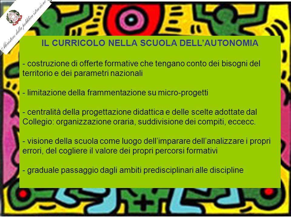 IL CURRICOLO NELLA SCUOLA DELL'AUTONOMIA