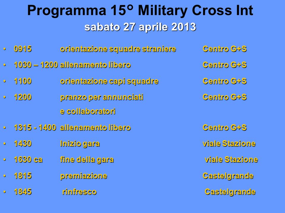 Programma 15° Military Cross Int sabato 27 aprile 2013