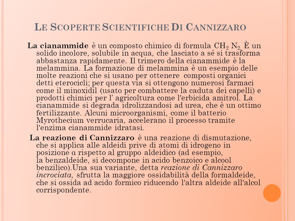 Le Scoperte Scientifiche Di Cannizzaro