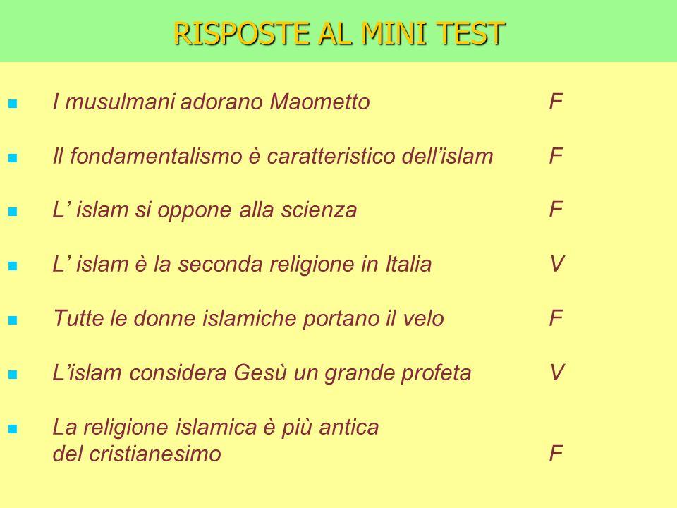 RISPOSTE AL MINI TEST I musulmani adorano Maometto F