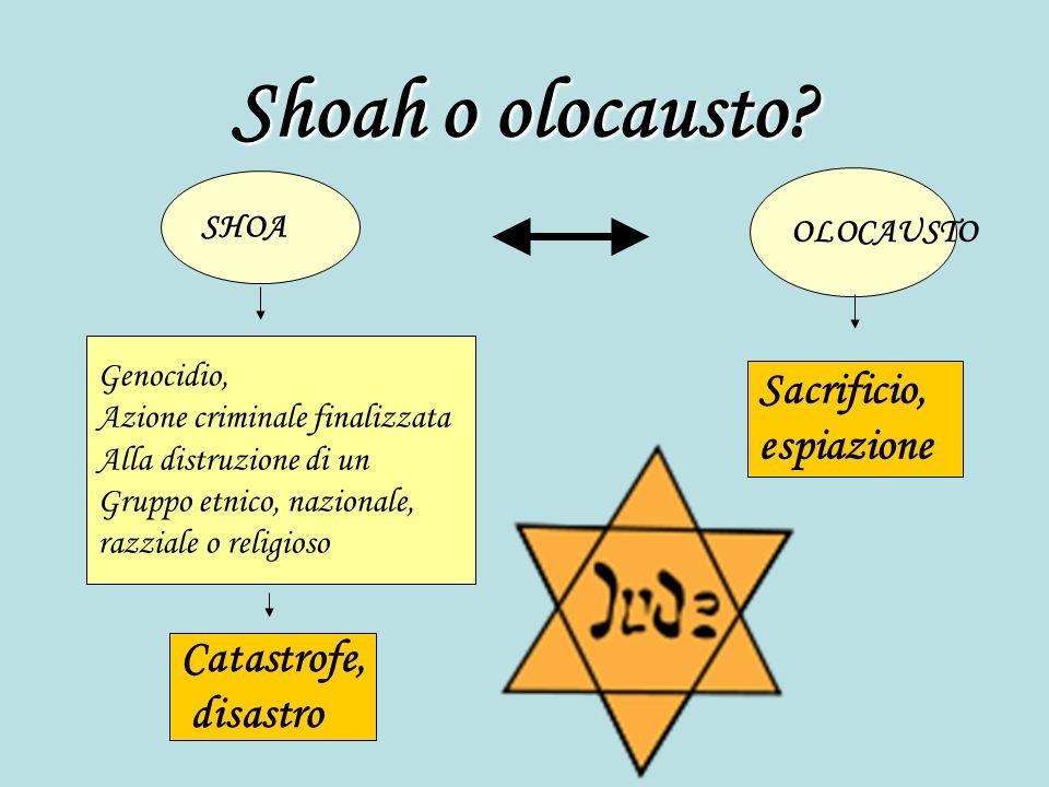 Shoah o olocausto Sacrificio, espiazione Catastrofe, disastro SHOA