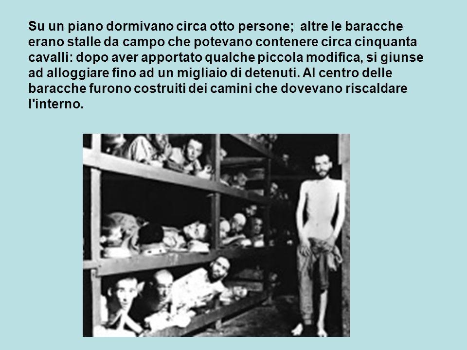 Su un piano dormivano circa otto persone; altre le baracche erano stalle da campo che potevano contenere circa cinquanta cavalli: dopo aver apportato qualche piccola modifica, si giunse ad alloggiare fino ad un migliaio di detenuti.