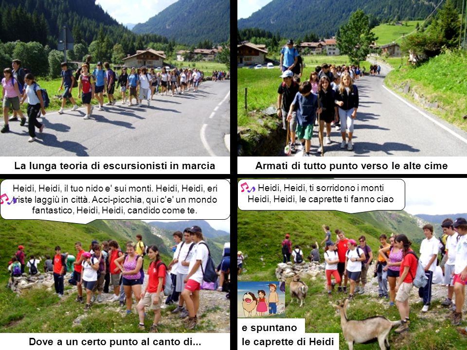 La lunga teoria di escursionisti in marcia