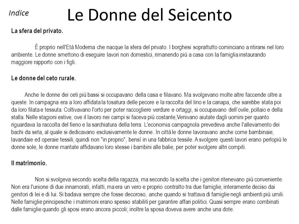 Le Donne del Seicento Indice La sfera del privato.