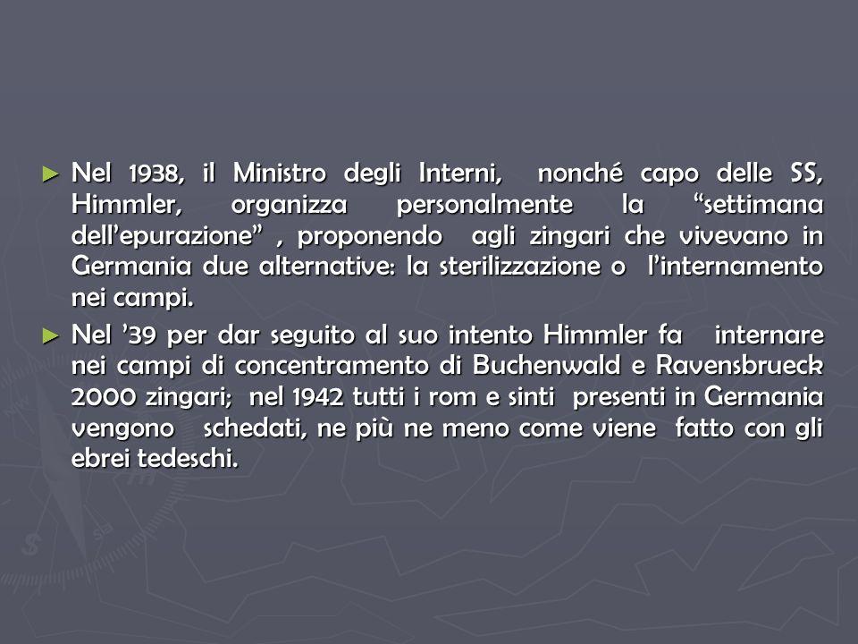 Nel 1938, il Ministro degli Interni, nonché capo delle SS, Himmler, organizza personalmente la settimana dell'epurazione , proponendo agli zingari che vivevano in Germania due alternative: la sterilizzazione o l'internamento nei campi.