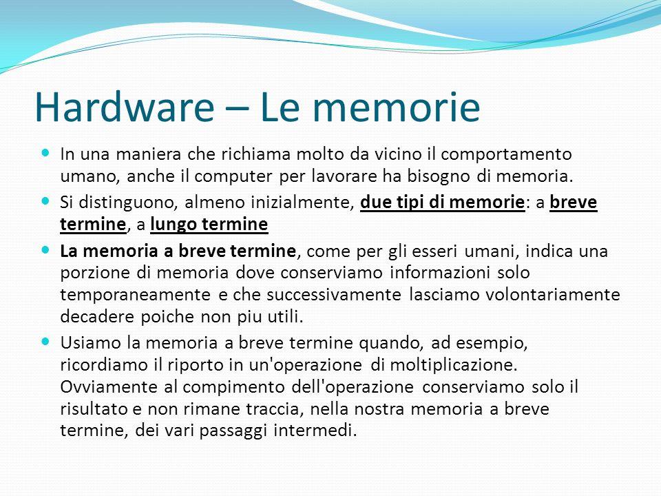 Hardware – Le memorie In una maniera che richiama molto da vicino il comportamento umano, anche il computer per lavorare ha bisogno di memoria.