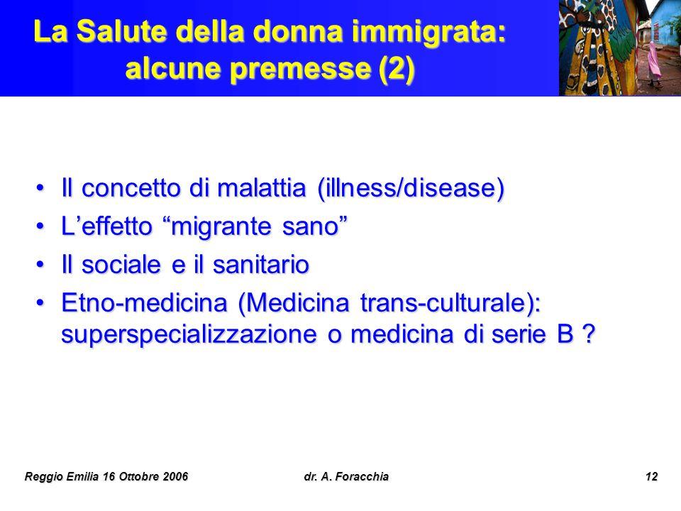 La Salute della donna immigrata: alcune premesse (2)