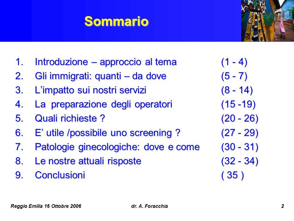 Sommario Introduzione – approccio al tema (1 - 4)